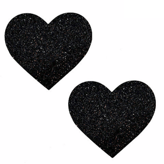 Black Malice Glitter Heart Pasties - Rave Rebel