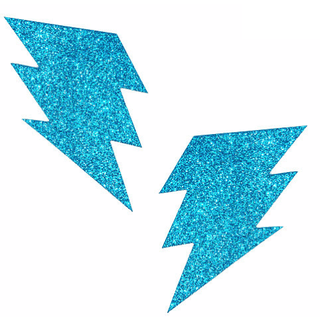 Bowie Blue Glitter Bolt Pasties - Rave Rebel