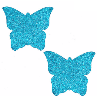 Bowie Blue Glitter Butterfly Pasties - Rave Rebel