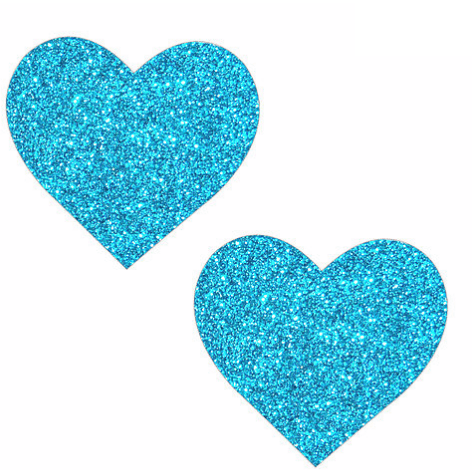 Bowie Blue Glitter Heart Pasties - Rave Rebel