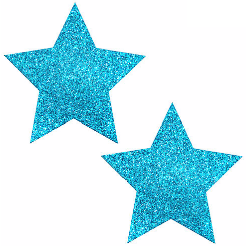 Bowie Blue Glitter Star Pasties - Rave Rebel