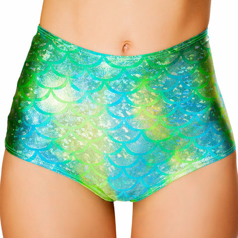 Koi Blue/Green Mermaid High-Waist Mermaid Short