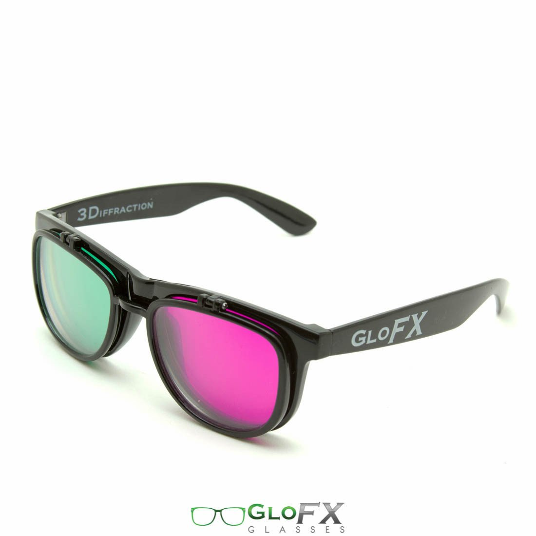 GloFX Flip 3Diffraction Glasses- Black - Rave Rebel