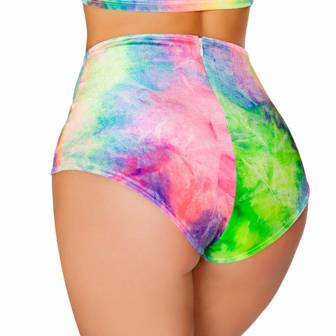 Multi Tie Dye High-Waist Short - Rave Rebel