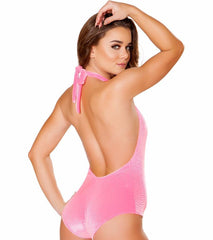 Bubblegum Sparkle Velvet High-Neck Halter Romper - Rave Rebel
