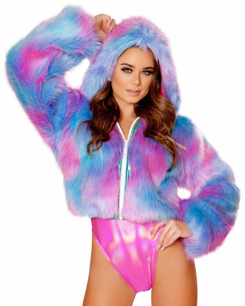 Cotton Kandy Cropped Hooded Faux Fur Jacket