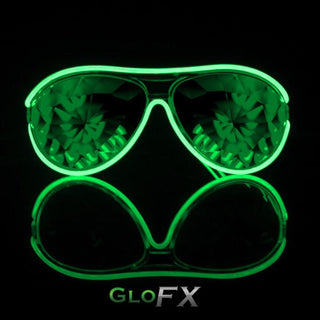 Customizable Aviator Style Kaleidoscope Light Up Glasses - Rave Rebel