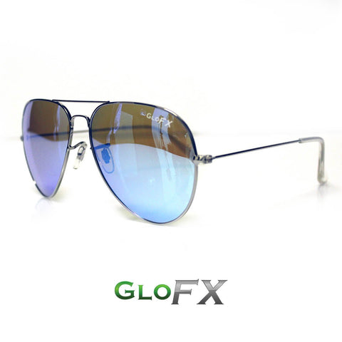 GloFX Metal Pilot Aviator Style Sunglasses – Polarized Blue Mirror