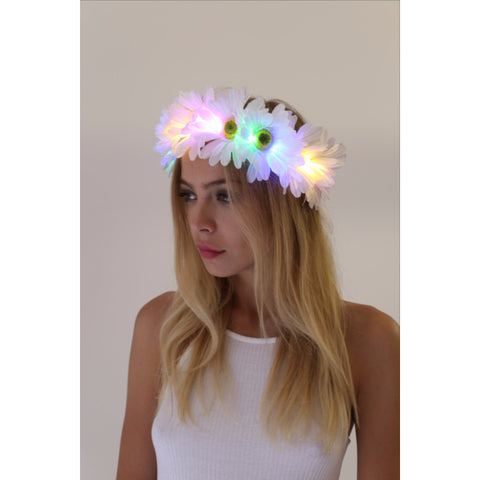 Rainbow Daisy LED Flower Crown - Rave Rebel