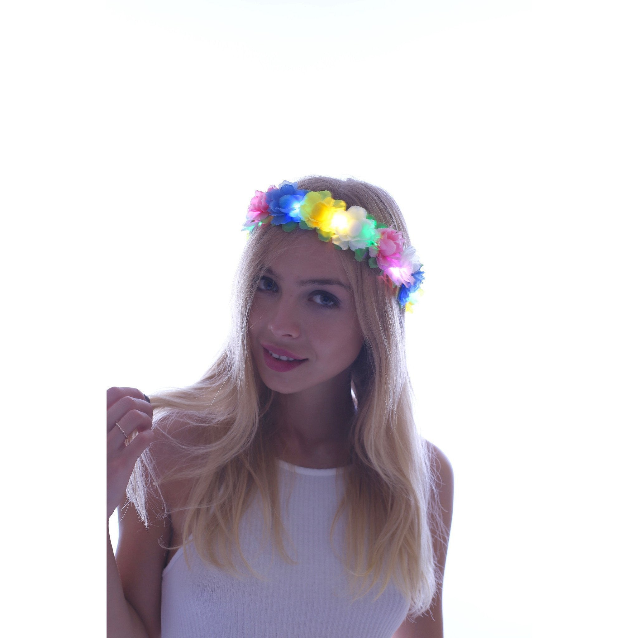 Rainbow-LED Light Up Flower Crown - Rave Rebel