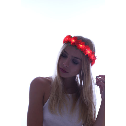Red-LED Light Up Flower Crown - Rave Rebel