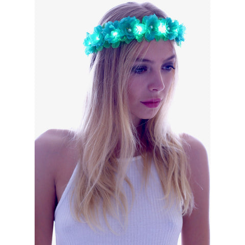 Forest Angel-Green LED Light Up Flower Crown - Rave Rebel