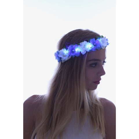 Blue-LED Light Up Flower Crown - Rave Rebel