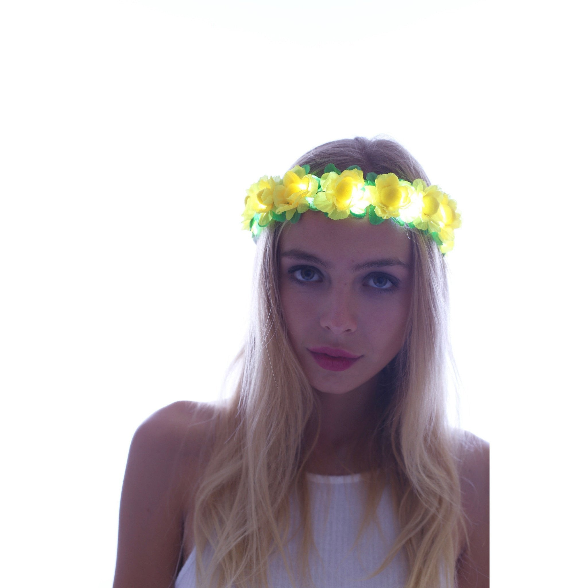 Yellow-LED Light Up Flower Crown - Rave Rebel
