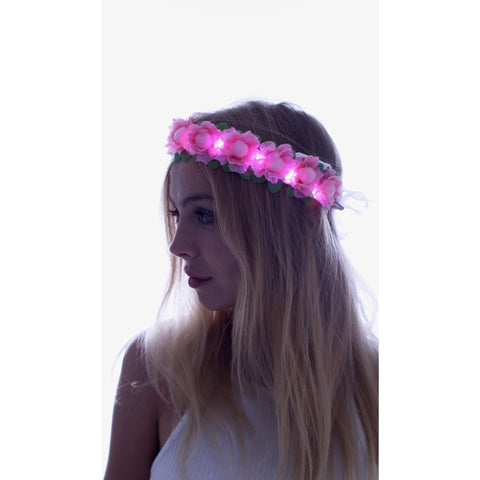 Pink-LED Light Up Flower Crown - Rave Rebel