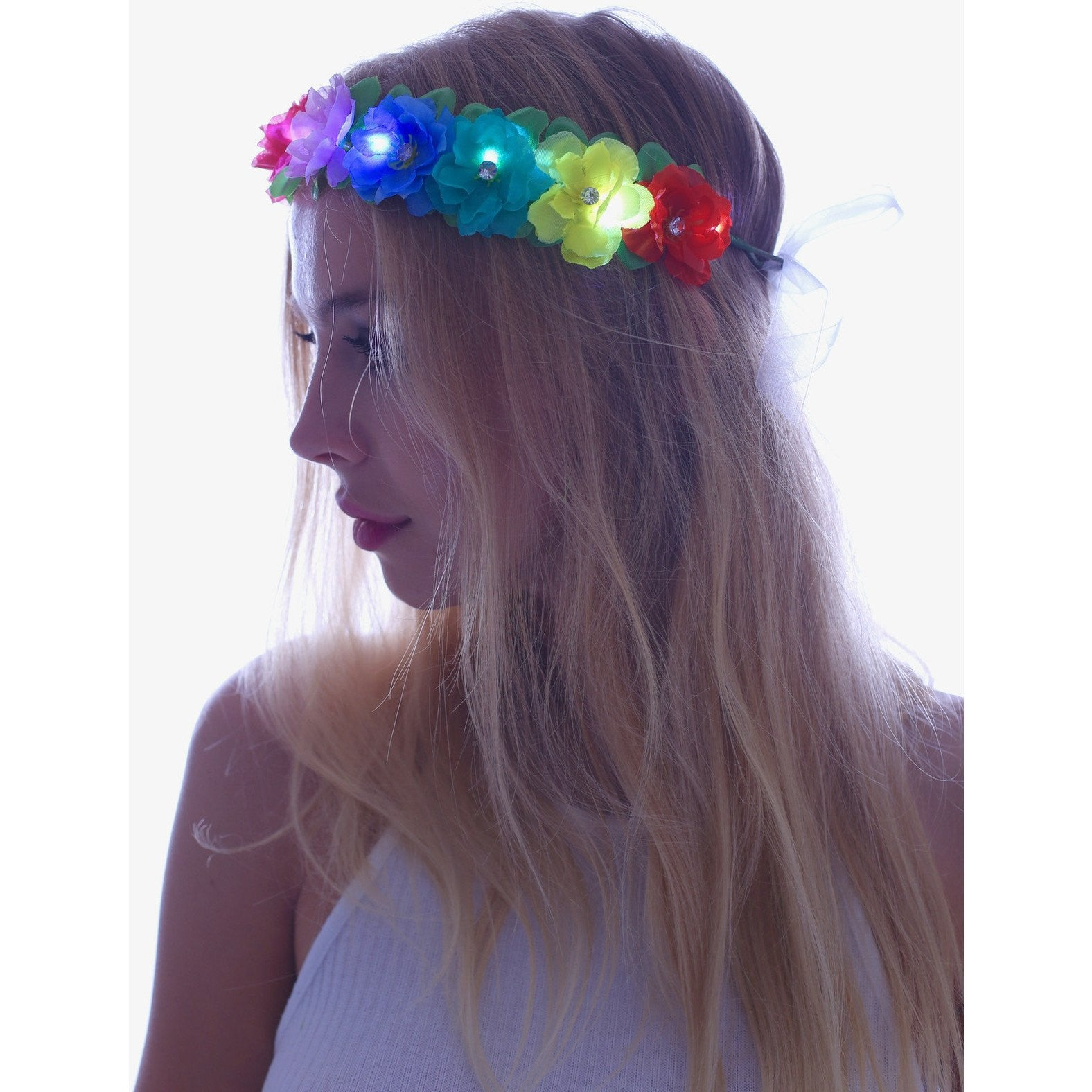 Rainbow LED Light Up Flower Crown - Rave Rebel