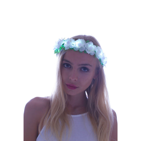 White-LED Light Up Flower Crown - Rave Rebel