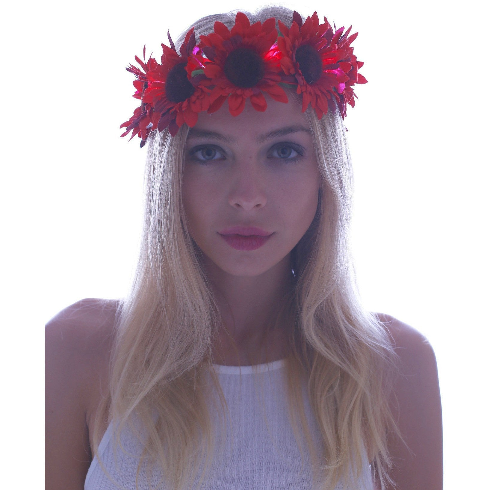 Red Daisy LED Light Up Flower Crown - Rave Rebel