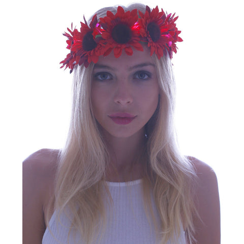 Red Daisy LED Light Up Flower Crown