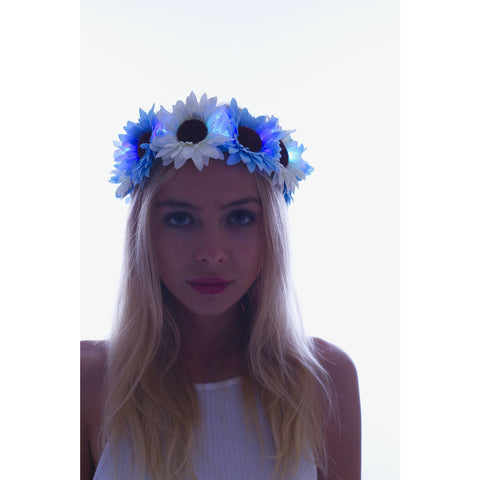 Blue Daisy LED Light Up Flower Crown - Rave Rebel