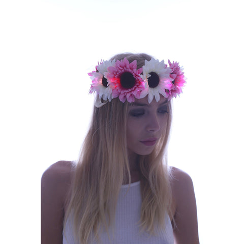 Pink Daisy LED Light Up Flower Crown