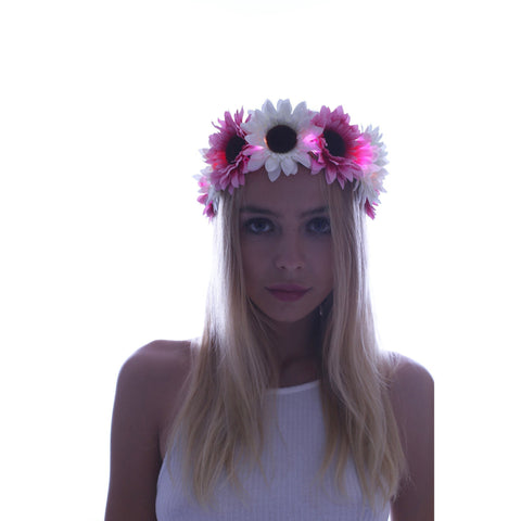 Pink Daisy LED Light Up Flower Crown - Rave Rebel
