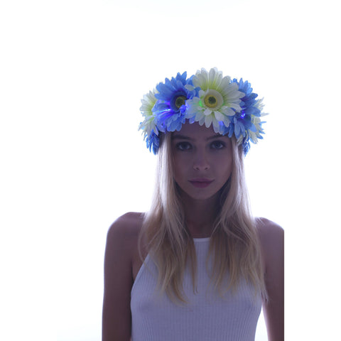 Blue-Large Daisy LED Flower Crown - Rave Rebel