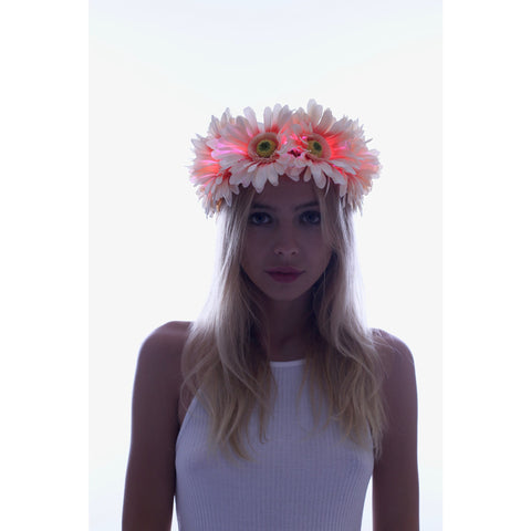 Pinky - Large Daisy LED Flower Crown - Rave Rebel