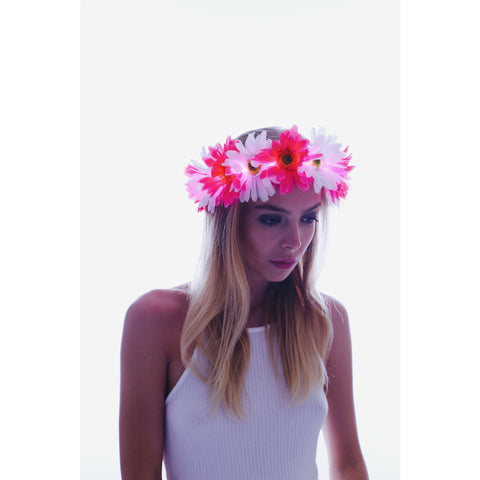 Pink-Large Daisy LED Flower Crown - Rave Rebel