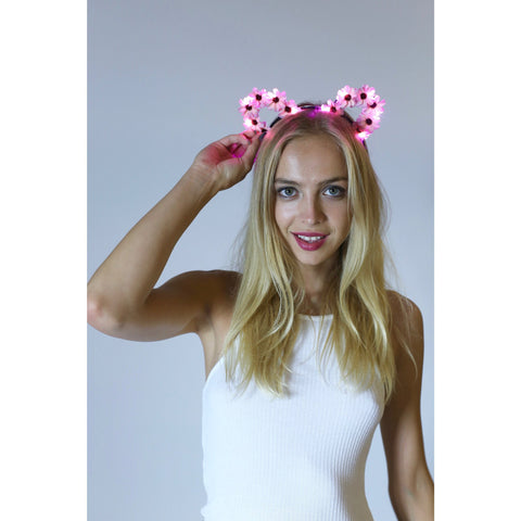 Pink LED Light Up Flower Disney Mouse Ears - Rave Rebel