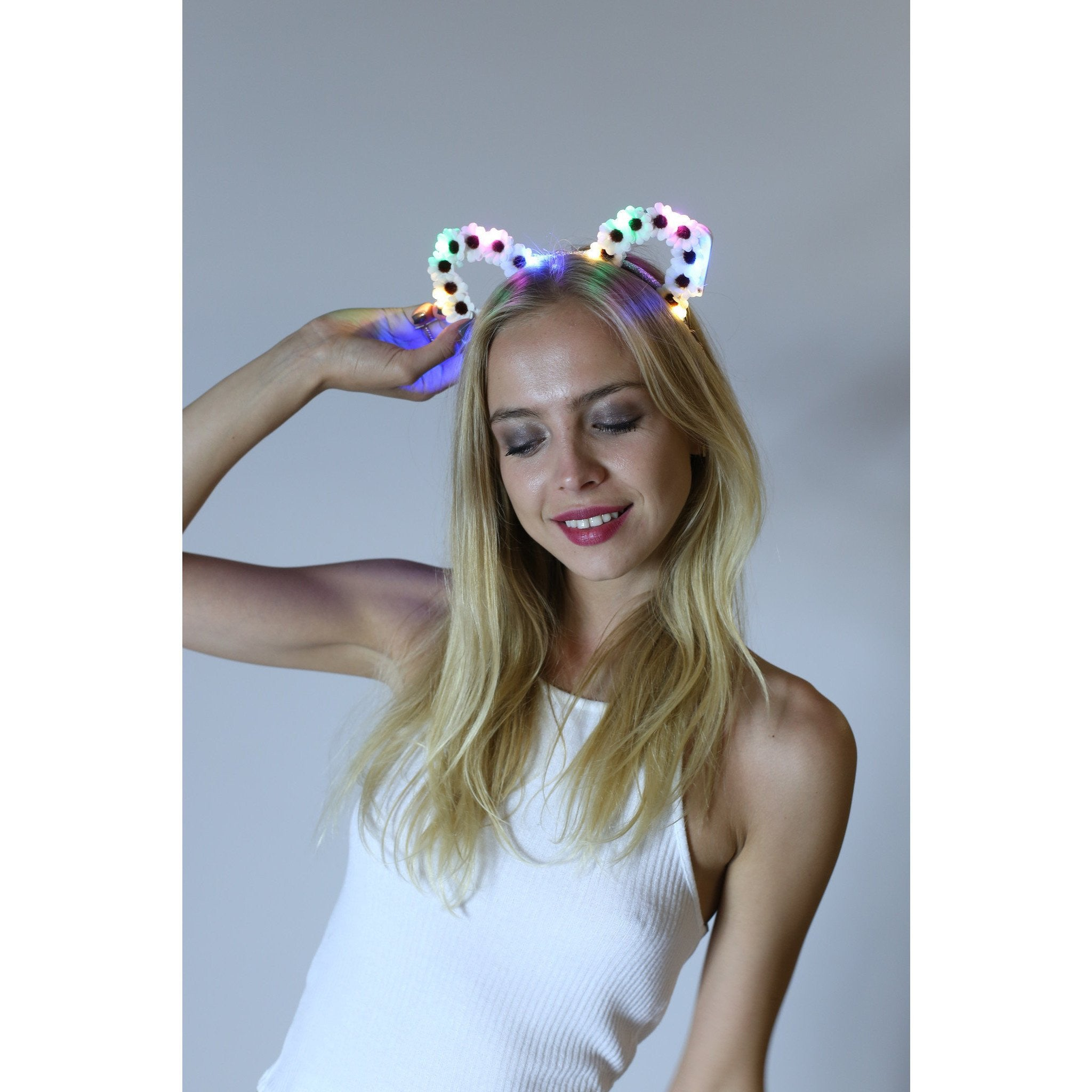 Rainbow LED Light Up Bunny Ears - Rave Rebel