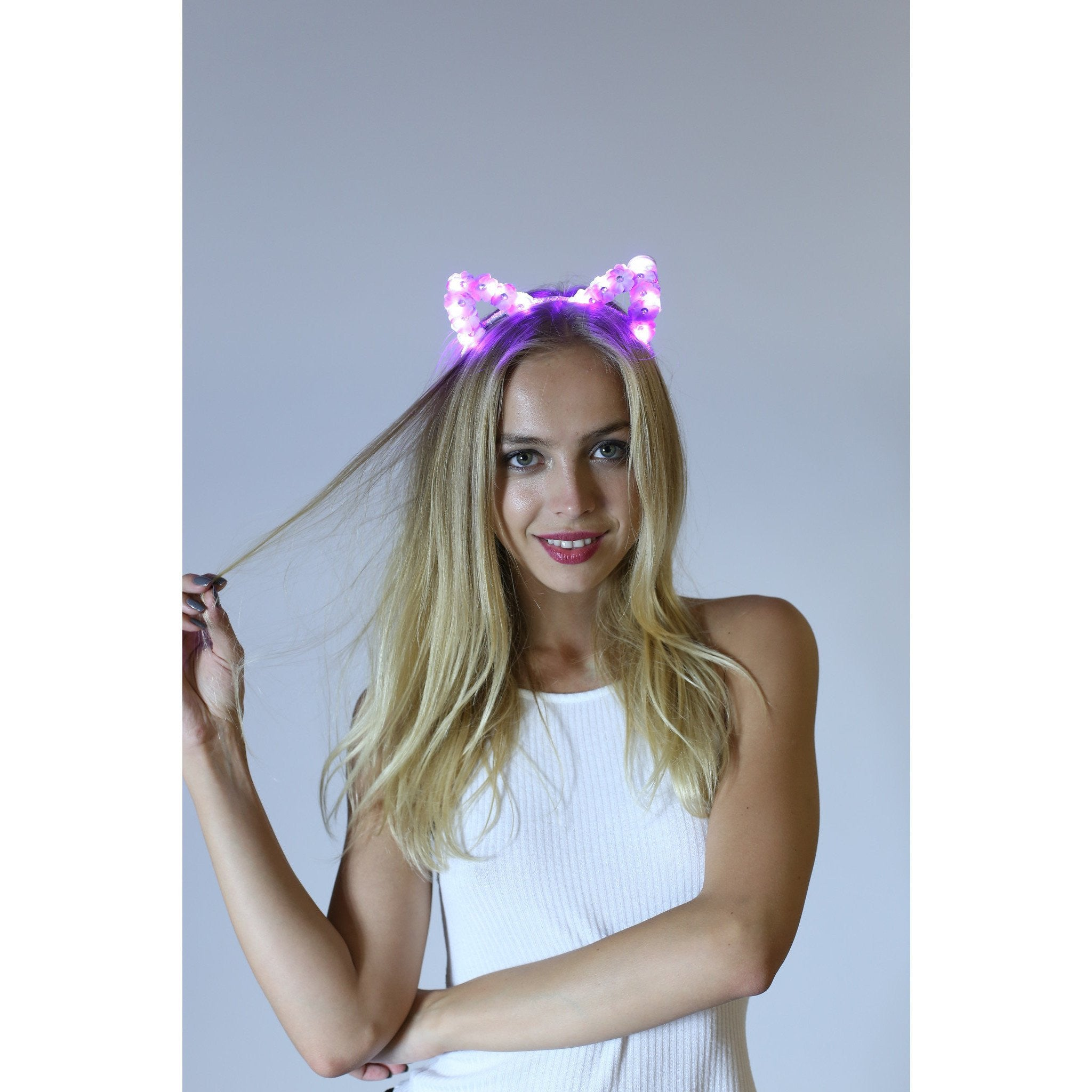 Purple LED Light Up Flower Cat Ears - Rave Rebel