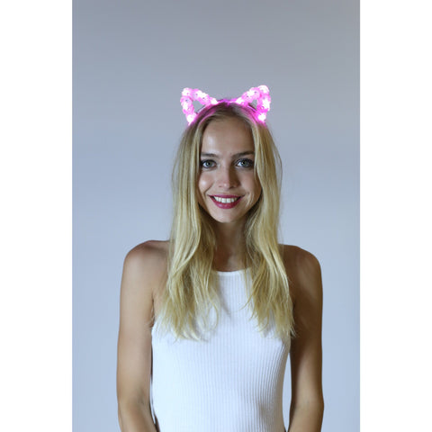 Pink LED Light Up Flower Cat Ears - Rave Rebel