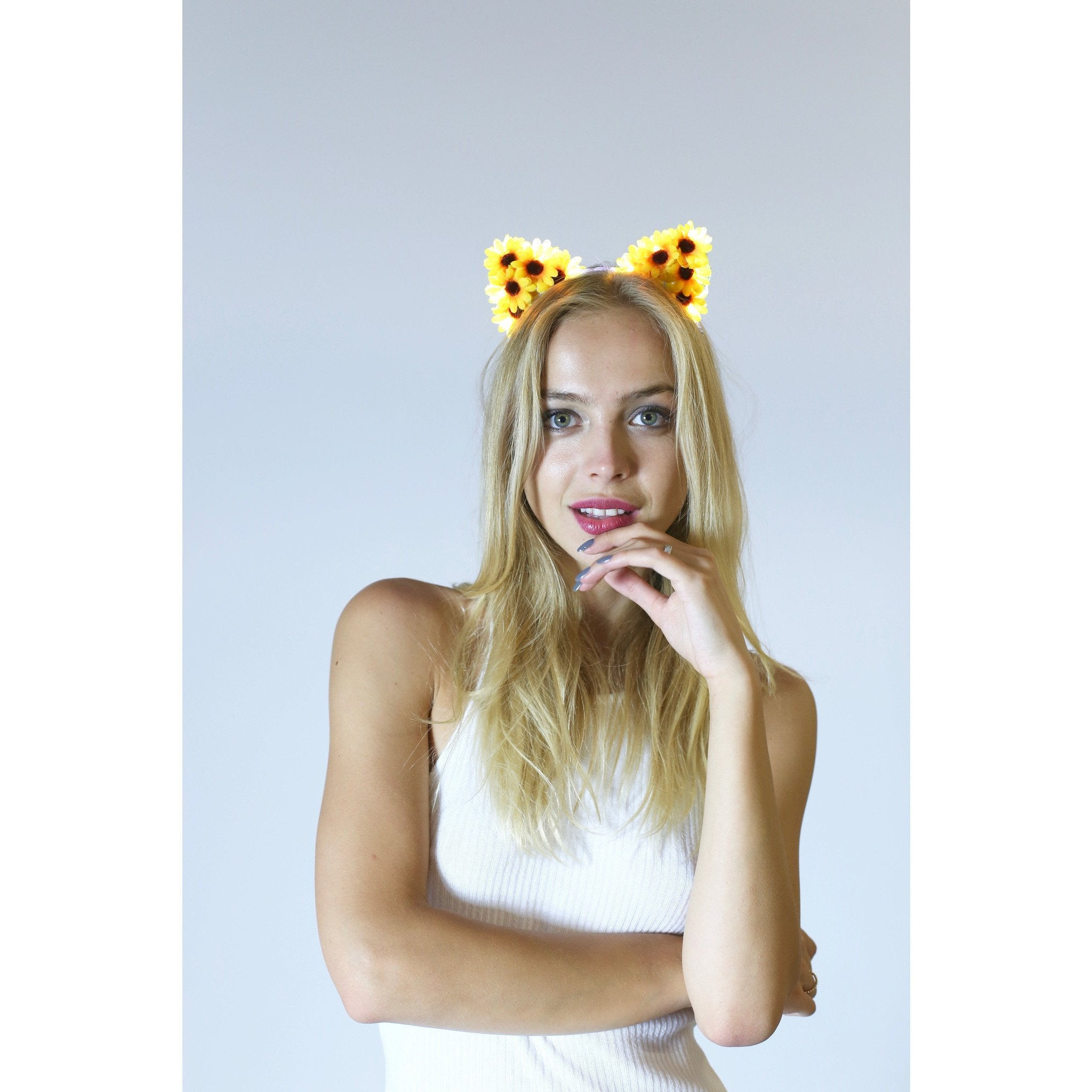 Sunflowers LED Light Up Flower Cat Ears - Rave Rebel