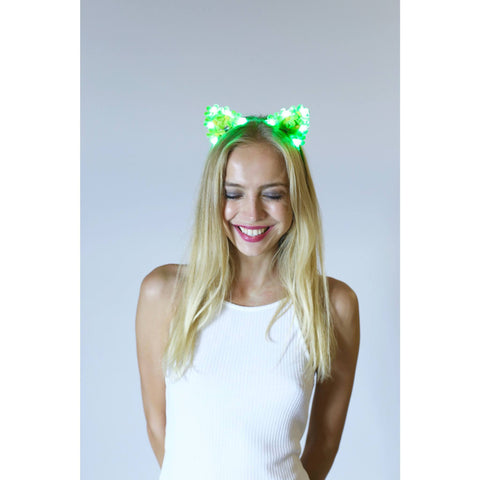 Green LED Light Up Flower Cat Ears - Rave Rebel