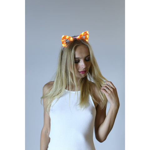 Orange LED Light Up Flower Cat Ears - Rave Rebel