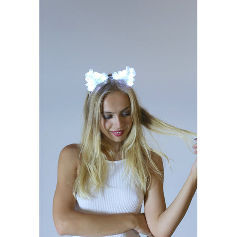 White LED Light Up Flower Cat Ears with Gems - Rave Rebel