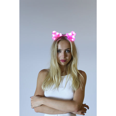 Pink LED Light Up Flower Cat Ears with Gems - Rave Rebel