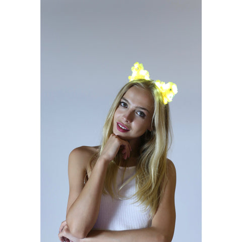 Yellow LED Light Up Flower Cat Ears - Rave Rebel