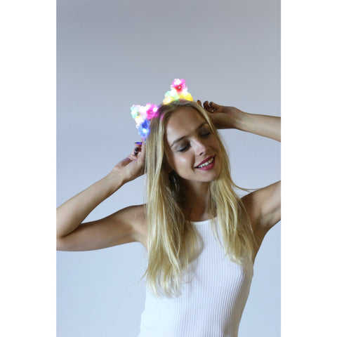 Rainbow LED Light Up Flower Cat Ears - Rave Rebel