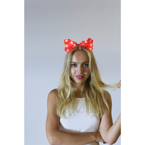 Red LED Light Up Flower Cat Ears,Floral Cat Ears - Rave Rebel