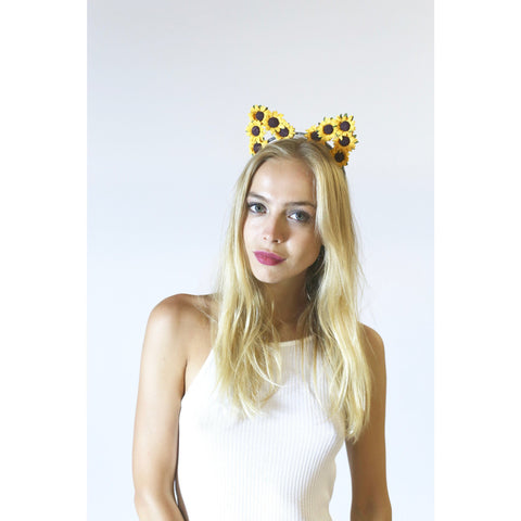 Sunflower Cat Ears Headband,Flower Cat Ears - Rave Rebel