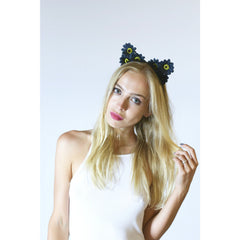 Black Daisy Flower Cat Ears,Floral Cat Ears - Rave Rebel