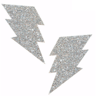 Pixie Dust Silver Glitter Bolt Pasties - Rave Rebel