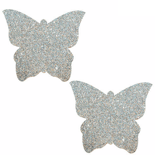 Pixie Dust Silver Glitter Butterfly Pasties - Rave Rebel