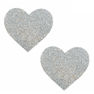 Pixie Dust Silver Glitter Heart Pasties - Rave Rebel
