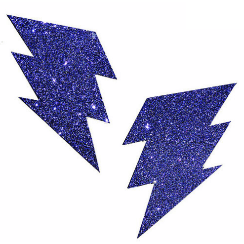 Purple Rain Glitter Bolt Pasties - Rave Rebel