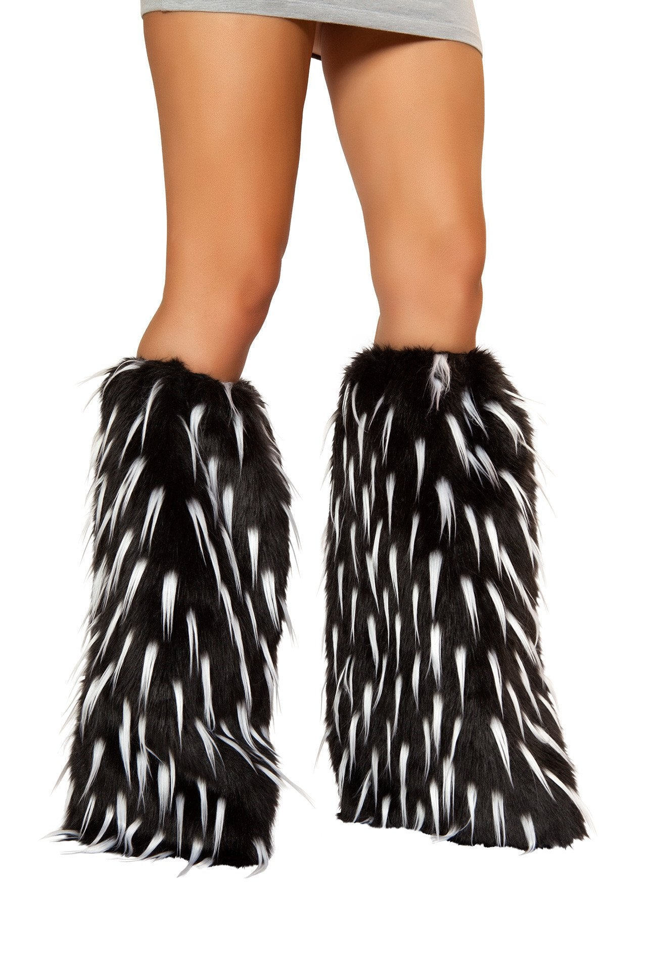 White and Black Spiked Fluffies - Rave Rebel