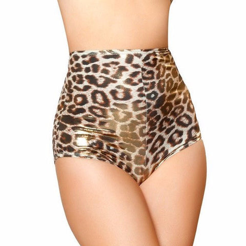 Gold Leopard High Waisted Shorts - Rave Rebel
