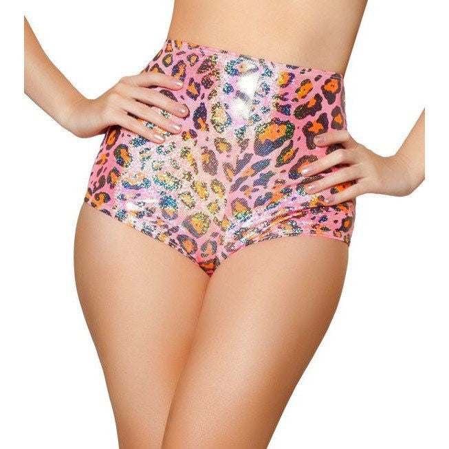 Pink Leopard High Waisted Shorts - Rave Rebel